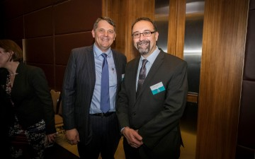 CUA CEO Rob Goudswaard with Red Nose CEO Theron Vassiliou