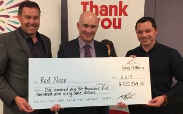Lee Heslehurst, Ian Burgess and Graham Belfield Sydney2CAMberra Cheque 2017