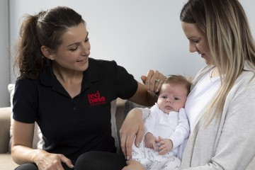 safe sleep training jane with baby and mother
