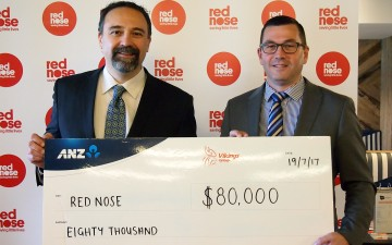 Vikings CEO and Red Nose CEO cheque presentation July 2017